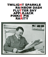 141276__safe_twilight+sparkle_rainbow+dash_pinkie+pie_fluttershy_rarity_applejack_human_photo_irl_text_mane+six_irl+human_nazi_newspaper_adolf+hitler.png