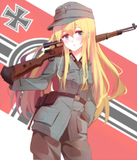 Anime Wehrmacht girl with uniform and rifle.jpg