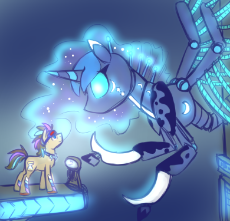 425194__safe_artist-colon-jitterbugjive_doctor whooves_princess luna_cyborg_glow_robot_size difference.png