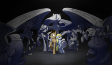 415808__safe_artist-colon-underpable_derpy hooves_doctor whooves_princess celestia_queen chrysalis_zecora_antagonist_crossover_doctor who_fangs_female_.png