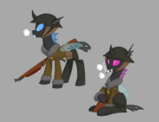 1879265__safe_artist-colon-carnifex_equestria at war mod_changeling_cigarette_clothes_cold weather_commission_gu.jpeg