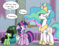 2016471__safe_artist-colon-skitter_princess celestia_twilight sparkle_oc_oc-colon-filly anon_alicorn_clothes_crown_dialogue_eyes closed_female_filly_im.png
