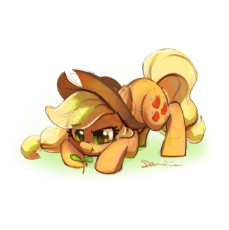 1816892__safe_artist-colon-celebi-dash-yoshi_applejack_cowboy hat_cute_earth pony_female_frog inspector applejack_hat_jackabetes_mare_pon.png