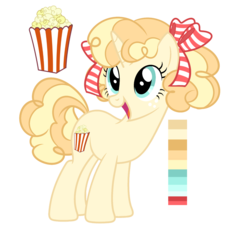 1621484__safe_artist-colon-elskafox_oc_oc only_earth pony_food_popcorn_reference sheet_ribbon_solo.png