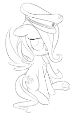 20_Otherdrawfag_Fluttershy_sitting_cute_pegasus_female_hat_military_germany_fascism_looking at you_outline.png