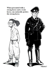 0057_OAT_Misc_weak_horse_versus_strong_horse_political_cartoon_hippie_schutzstaffel_uniform_soldier_hat_manlet.jpg