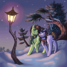 2222534__safe_artist-colon-faline-dash-art_oc_earth pony_pony_clothes_lamppost_scarf_snow_tree_winter.jpeg