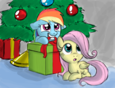104117 - adorable artist thex-plotion Christmas christmas_tree cute filly fluttershy gift present rainbow_dash.png
