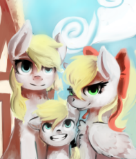 1218373__safe_oc_smiling_pegasus_filly_hat_earth pony_female_cloud_chest fluff.png