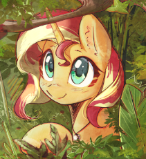 1725034__safe_artist-colon-mirroredsea_sunset shimmer_bust_cute_female_jewelry_jungle_looking at you_mare_necklace_pony_portrait_shimmerb.png