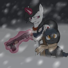 804123__safe_oc_magic_unicorn_looking back_bat pony_scarf_fallout equestria_snow_telekinesis.png