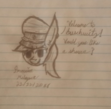 08_OAT_12_2018_1914543__safe_artist-colon-antique1899_oc_oc-colon-aryanne_oc only_cursive writing_hat_lined paper_monochrome_nazi_pony_sketch_solo_traditional art.jpeg